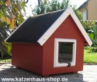 katzenhaus spitzdach farbe schwedenrot katzenhaus wetterfest f r drau en. Black Bedroom Furniture Sets. Home Design Ideas