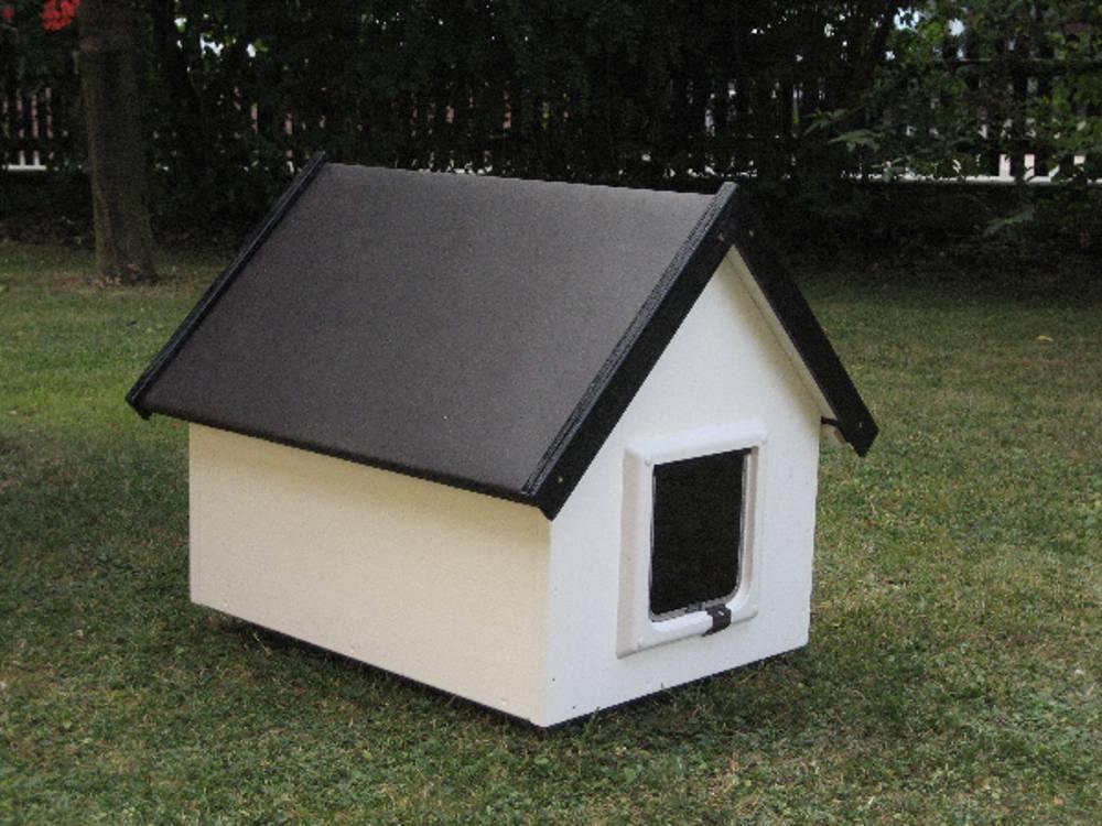 katzenhaus spitzdach farbe weiss katzenhaus wetterfest f r drau en. Black Bedroom Furniture Sets. Home Design Ideas