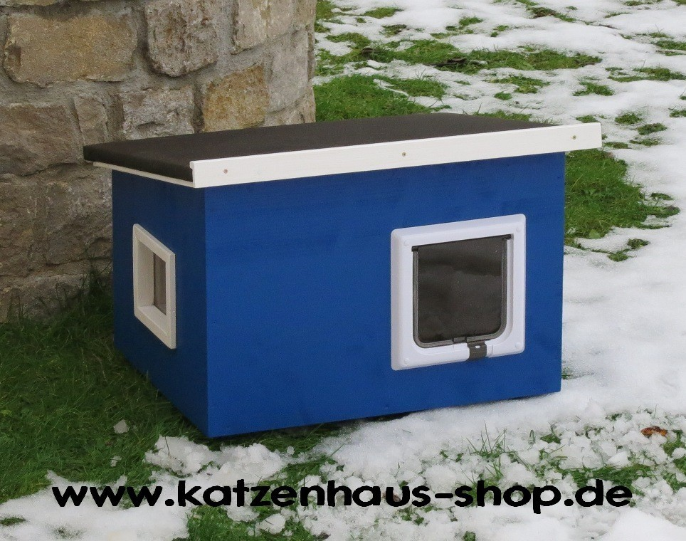 katzenhaus flachdach farbe enzianblau katzenhaus wetterfest f r drau en. Black Bedroom Furniture Sets. Home Design Ideas