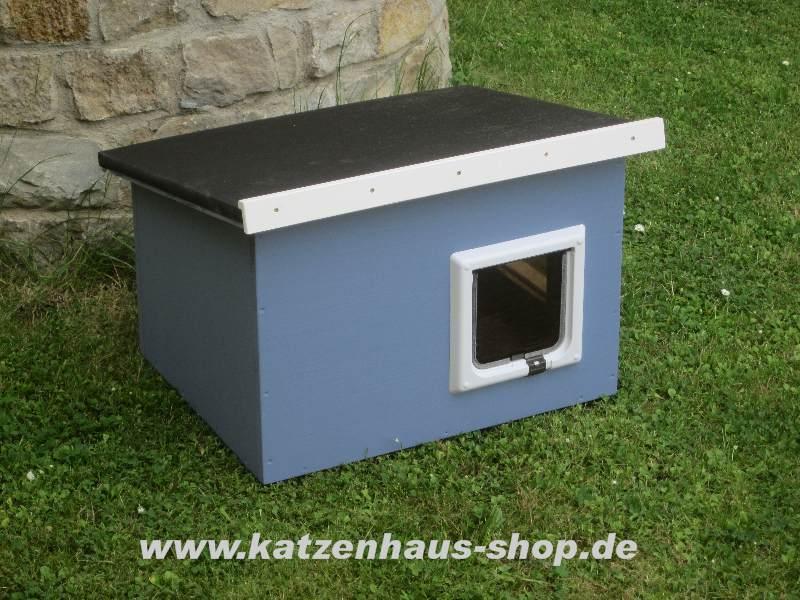 katzenhaus flachdach farbe taubenblau katzenhaus wetterfest f r drau en. Black Bedroom Furniture Sets. Home Design Ideas